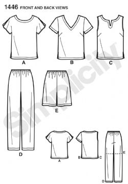 1446 Simplicity Pattern: Six Made Easy Pull on Tops and Trousers or Shorts for Plus Size